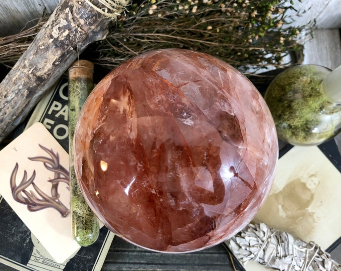 Crystal Ball Hematoid Quartz Natural Crystal Sphere with Rainbows