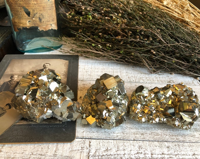 Pyrite / Druzy Crystal Cluster / Pyrite Cluster / Healing Crystals / Fools Gold / Boho Crystal Decor