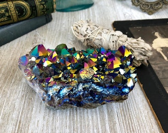 Aura Amethyst Crystal Cluster / Aura Rainbow Cluster