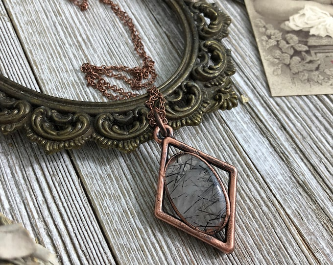 Black Tourmaline Clear Quartz Long Layering Triangle Necklace Boho Crystal Jewelry Copper