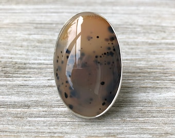 Size 9 Dendritic Agate Statement Ring Set in Sterling Silver / Curated by FOXLARK collection / Natural Stone Ring