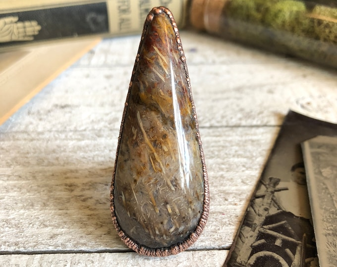 Size 9.25 Fossilized Palm Wood Ring Natural Stone Ring / Copper Electroformed Ring Large Stone Ring / Gypsy Statement Petrified Wood Ring