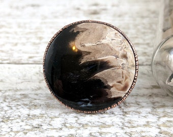 Size 9 Fossilized Palm Root Natural Stone Ring