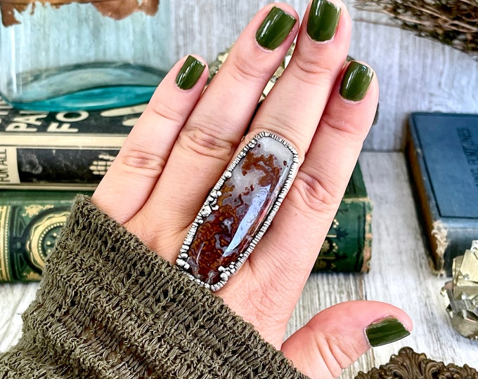 Size 9 Silver Natural Fancy Moss Agate Ring / Large Crystal Statement Ring / Foxlark Collection - One of a Kind