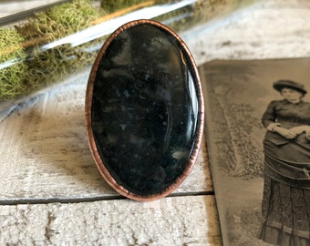 Moss Agate Ring Size 8 / Natural Stone Ring / Crystal Ring