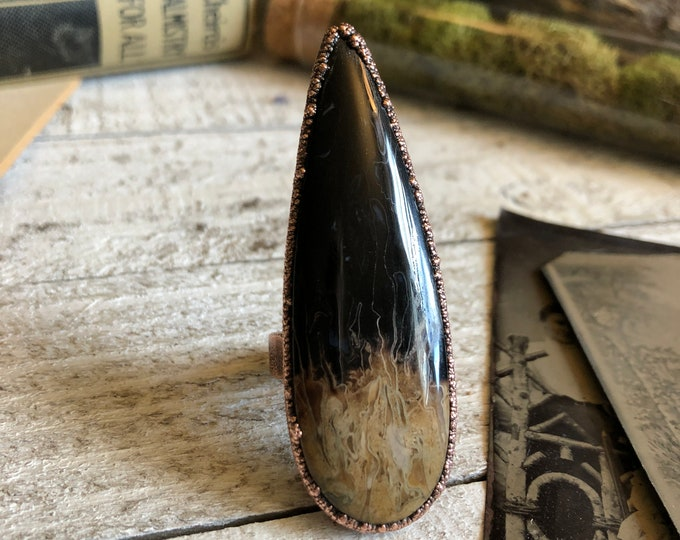 Size 7.75 Fossilized Palm Root Ring Natural Stone Ring