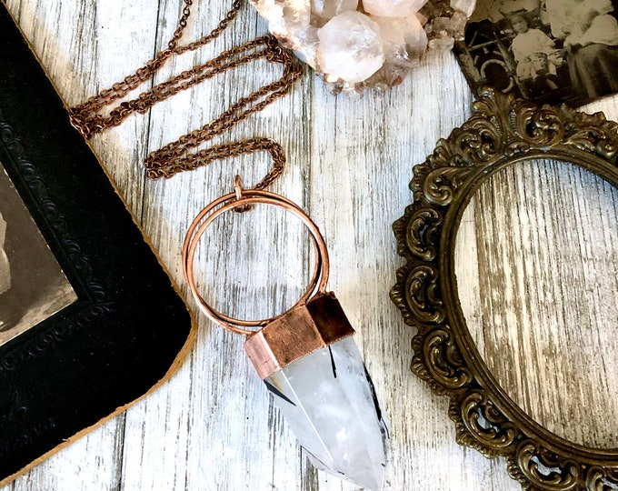 Large Tourmilated Quartz Necklace in Copper / Black Tourmaline Jewelry Clear Quartz Crystal Necklace