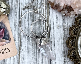 Raw Clear Quartz Crystal Necklace in Fine Silver / Bohemian Jewelry Gift for her