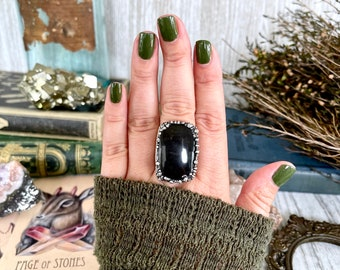 Size 10.25 Silver Sheen Obsidian Statement Ring in fine Silver / Foxlark Collection - One of a Kind
