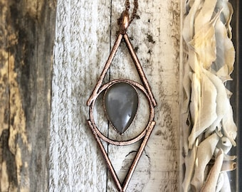 Gray Moonstone Crystal Necklace Pendant