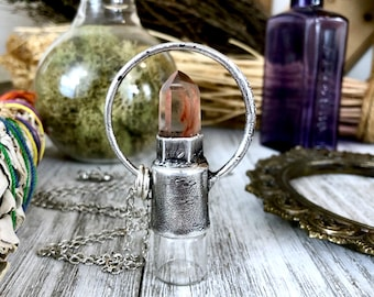 Garden Quartz Crystal Essential Oil Rollerball Necklace Pendant in Silver / Foxlark Collection - One of a Kind