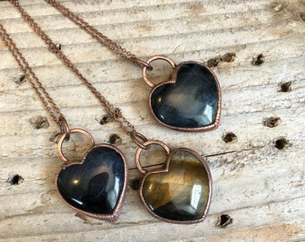 Blue Tigers Eye Necklace , Crystal Heart Electroformed Jewelry