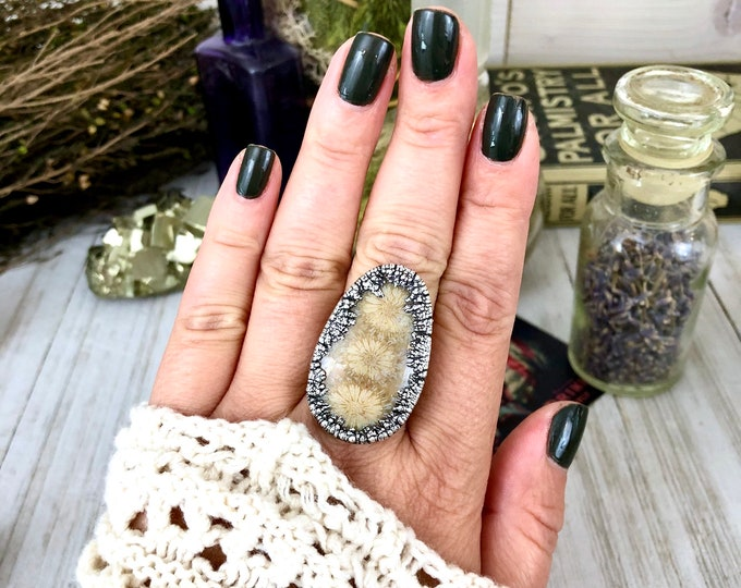 Size 10 Silver Statement Ring Fossilized Coral Ring