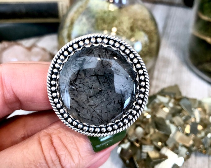 Size 9.5 Black Tourmaline Quartz Ring Set in Sterling Silver / Curated by FOXLARK collection