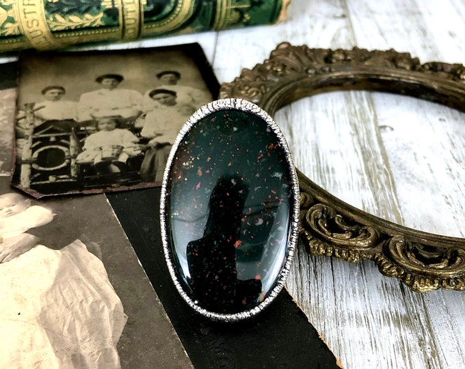 Size 7.25 Natural Bloodstone Large Stone statement Ring In Fine Silver