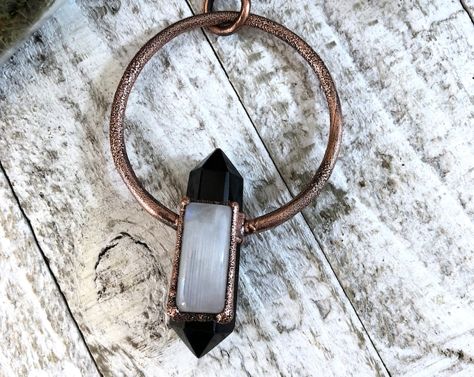 Crystal Necklace Black Obsidian Rainbow Moonstone Necklace