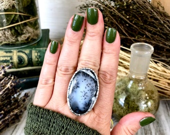 Size 10 Moss Opal Large Crystal Ring in Fine Silver for Woman / / Foxlark Collection - One of a Kind