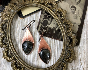 Boho Earrings Copper Crystal Earrings / Black Tourmaline Quartz Earring Bohemian Jewelry
