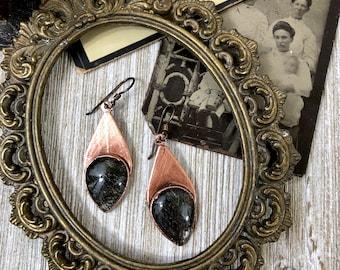 Boho Earrings Copper Crystal Earrings / Black Tourmaline Quartz Earring Bohemian Jewelry