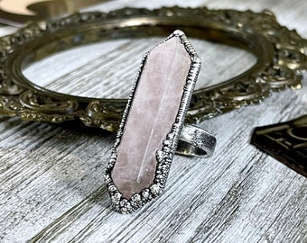 Size 8 Pink Rose Quartz Crystal Point Ring in Fine Silver / Foxlark Collection - One of a Kind