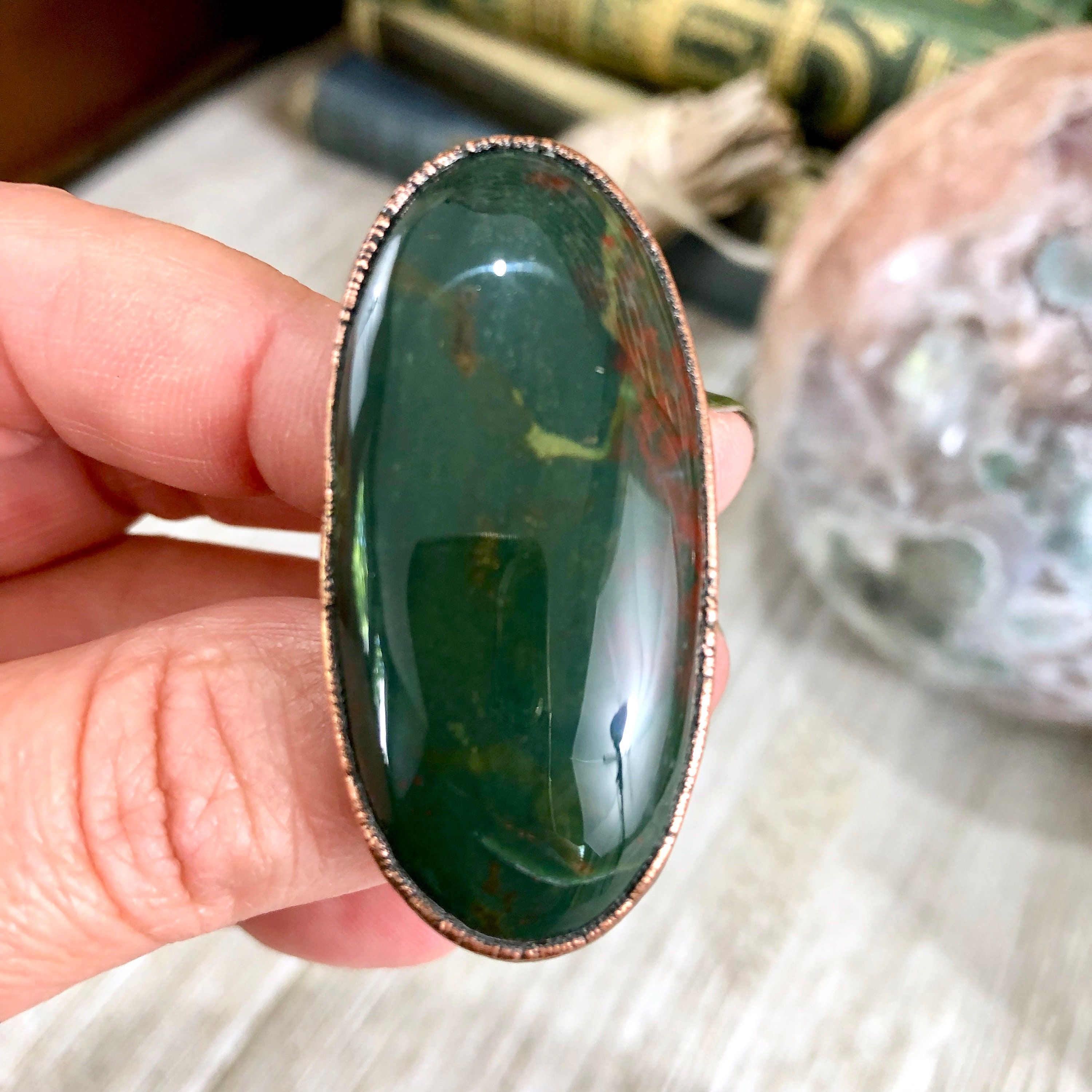 SALE - Big Statement Ring Size 8 5 Bloodstone Ring