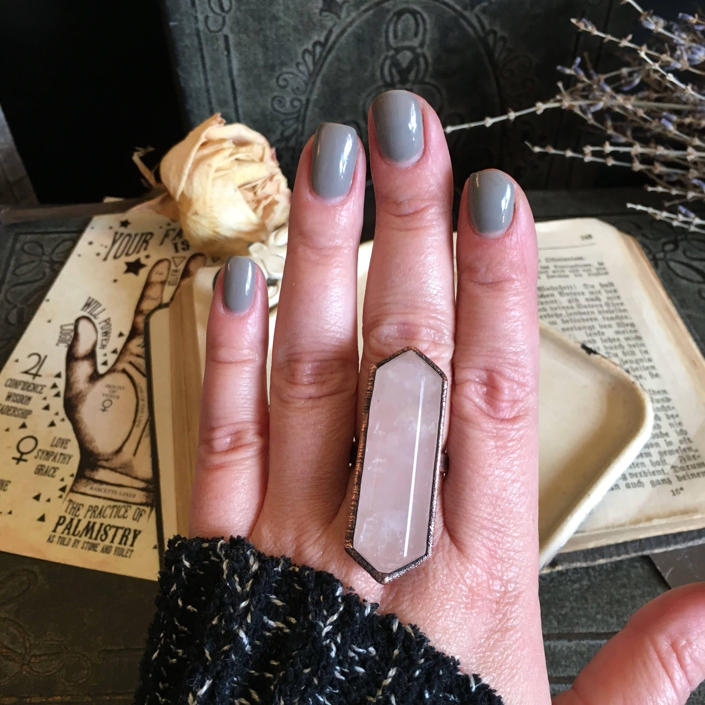 Size 8 Rose Quartz Copper Ring