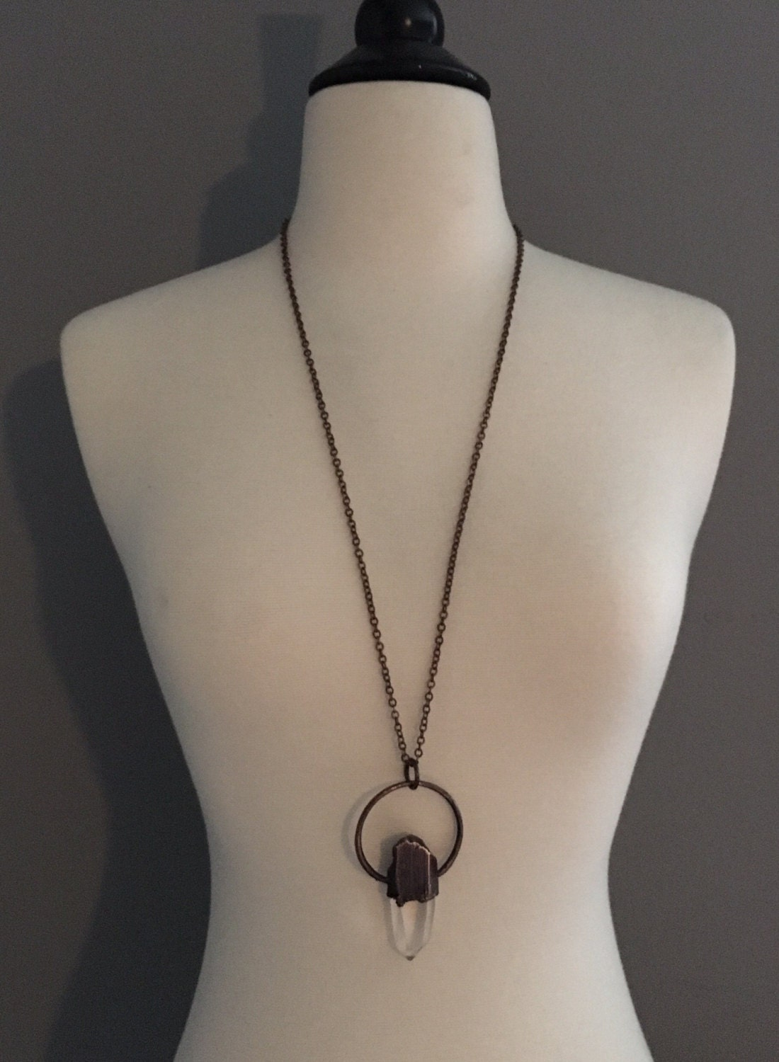 Large Raw Clear Quartz Necklace Crystal Healing Necklace Quartz Jewelry Raw Crystal Necklace