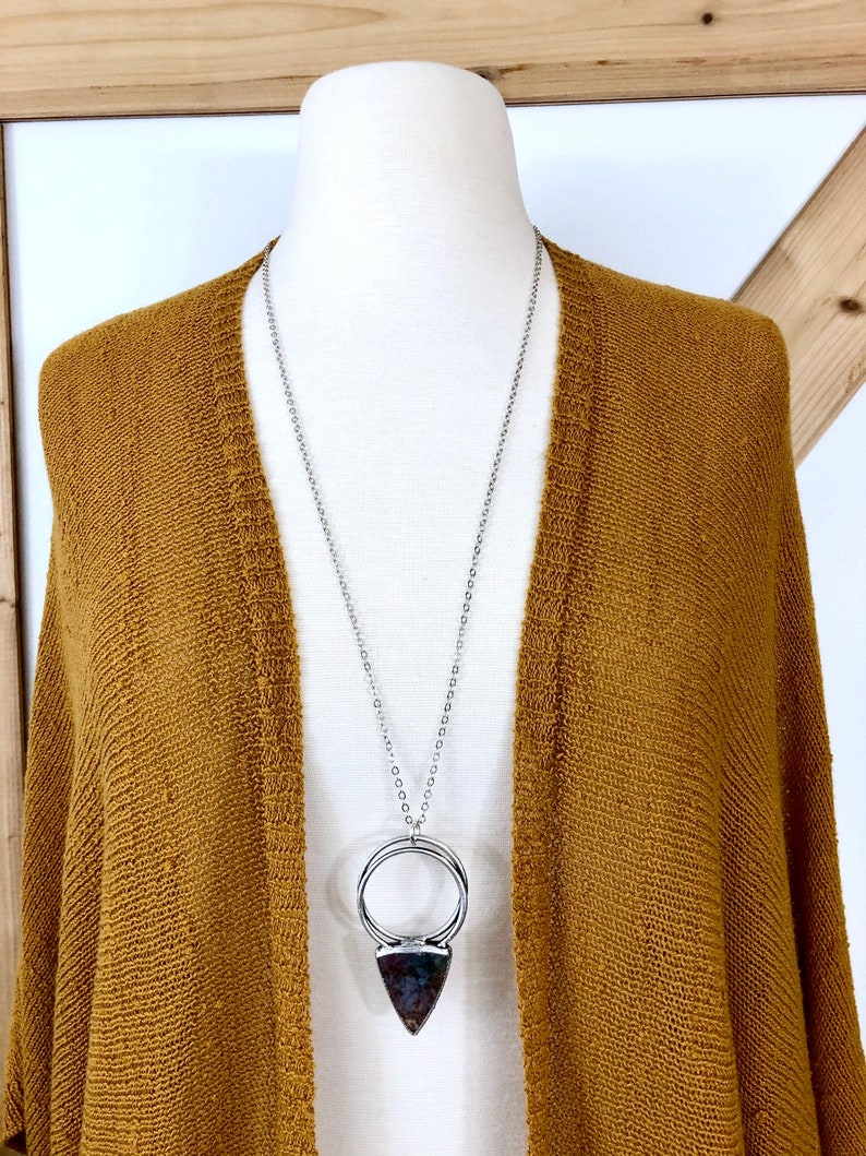 One of a Kind Large Moss Agate Statement Necklace in Fine Silver  Foxlark Collection