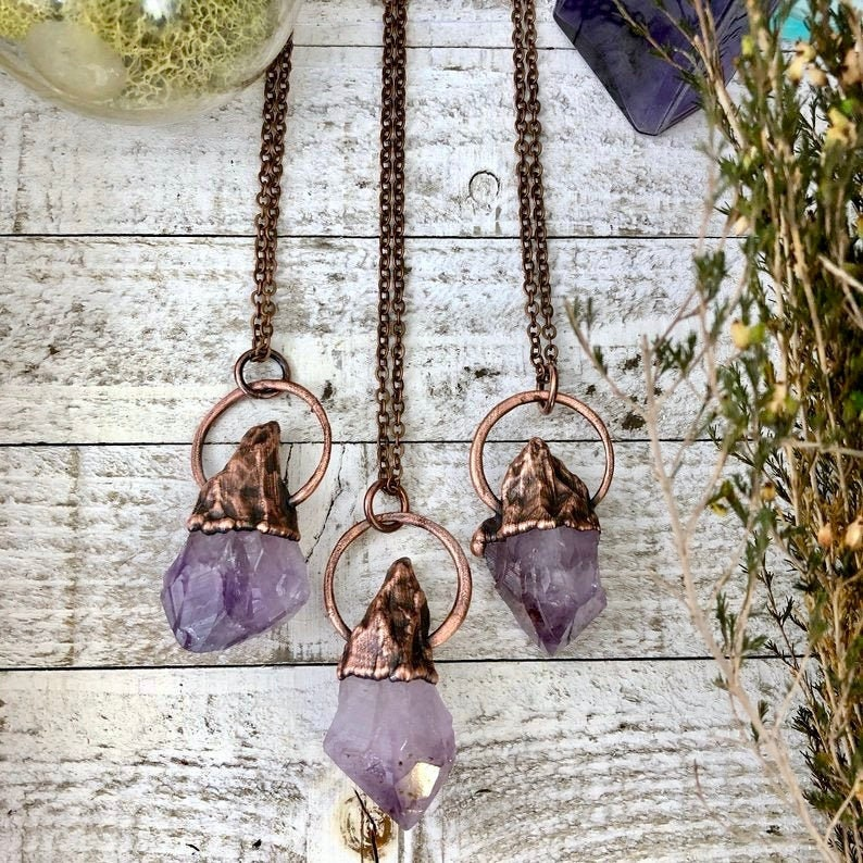 Bohemian Raw Crystal Necklace Raw Amethyst Necklace Pendant / image 0