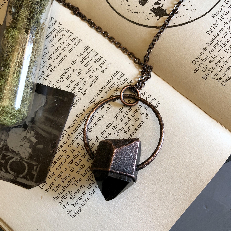 Smoky Quartz Raw Crystal Necklace Pendant   Big Rough Stone Jewelry  Gothic Jewelry Large Statement Necklace