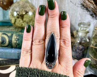 Magic Moons Black Onyx Ring in Solid Sterling Silver- Designed by FOXLARK Collection Size 6 7 8 9 10
