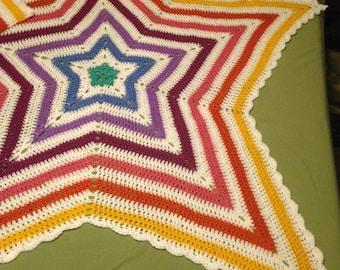 Radiating Rainbow Star Throw Blanket Afghan Free Shipping