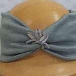 Silver Grey Fleece Lined Jersery Headband Headwrap vintage crystal brooch hat head band apres ski cosy snowboard retro turban head wrap wool