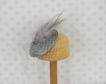 Silver Grey Birdcage Veil Fascinator Crystal brooch Feather Mount Races netting Wedding hair comb net metallic vintage