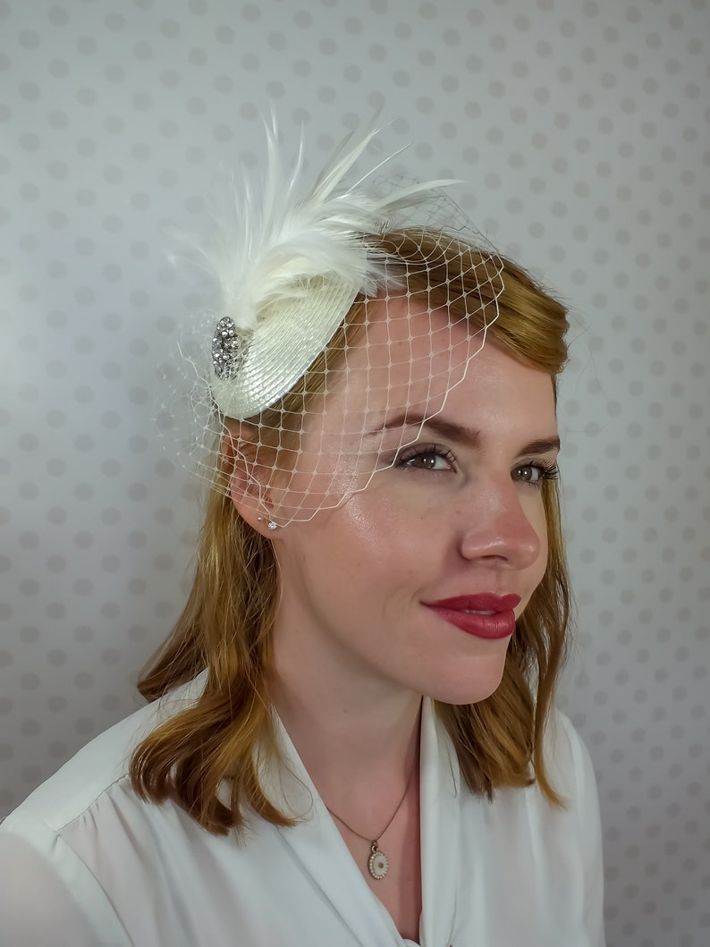 58eb961cb6355 Ivory Birdcage Veil Fascinator silver Crystal brooch Feather