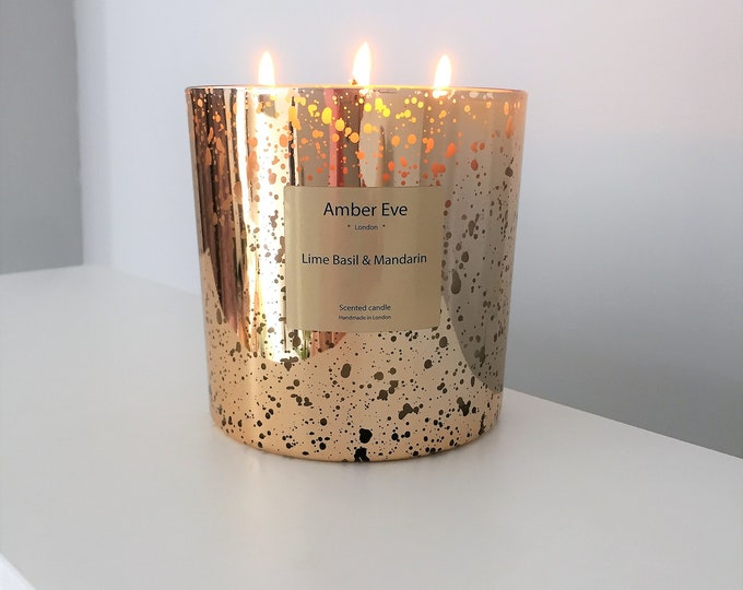 Lime Basil & Mandarin 3 Wick Gold Candle