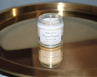 Pear & Freesia Small Candle with a silver lid