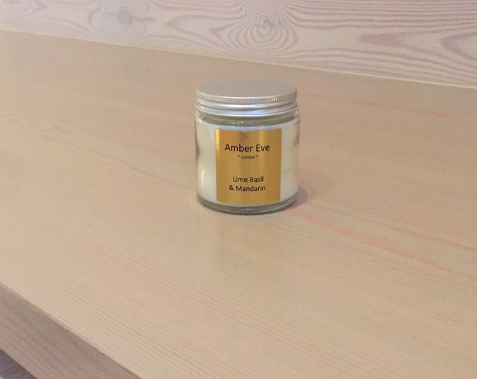 Lime Basil & Mandarin Candle with a silver lid