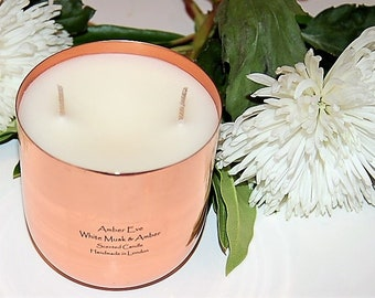 White Musk & Amber Copper Luxury Candle