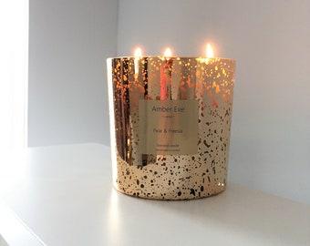 Pear & Freesia 3 Wick Gold Candle