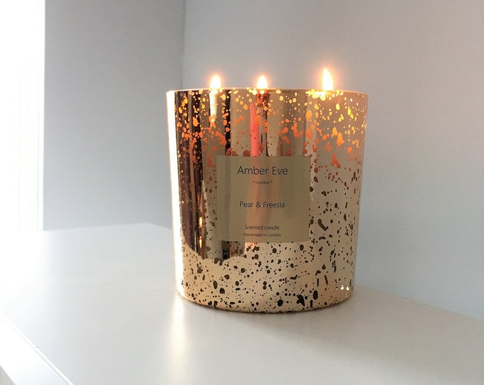 Pear & Freesia 3 Wick Gold Candle