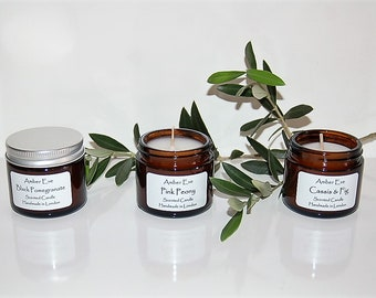 Set of 3 candles with silver lids