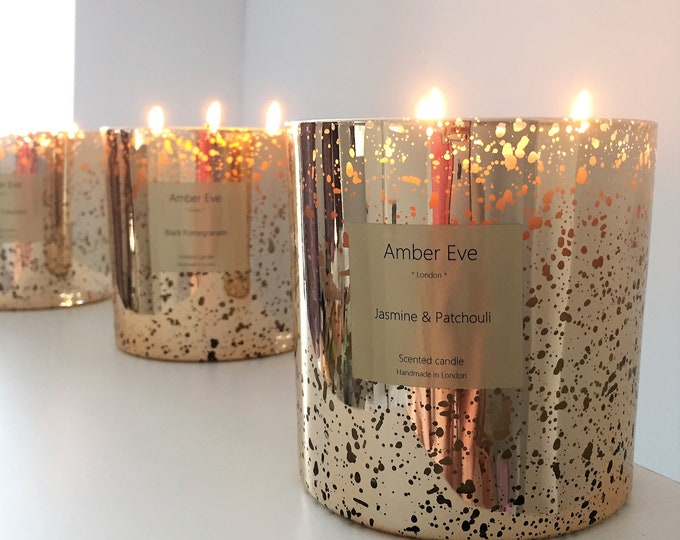 Jasmine & Patchouli 3 Wick Gold Candle