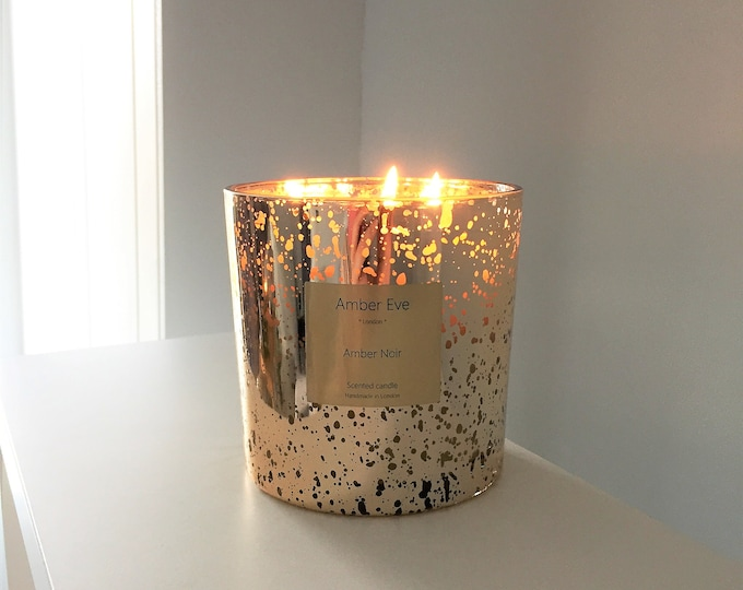 Amber Noir 3 Wick Gold Candle