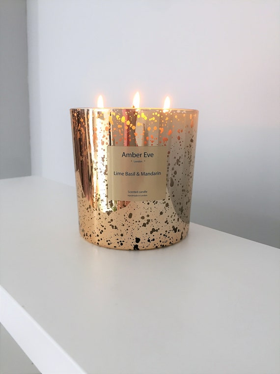 Lime Basil & Mandarin 3 Wick Gold Candle
