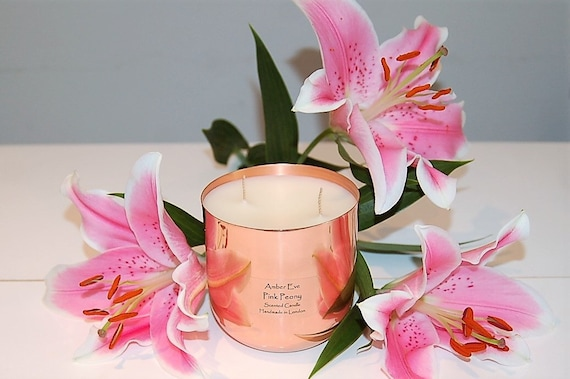 Pink Peony Copper Luxury Candle