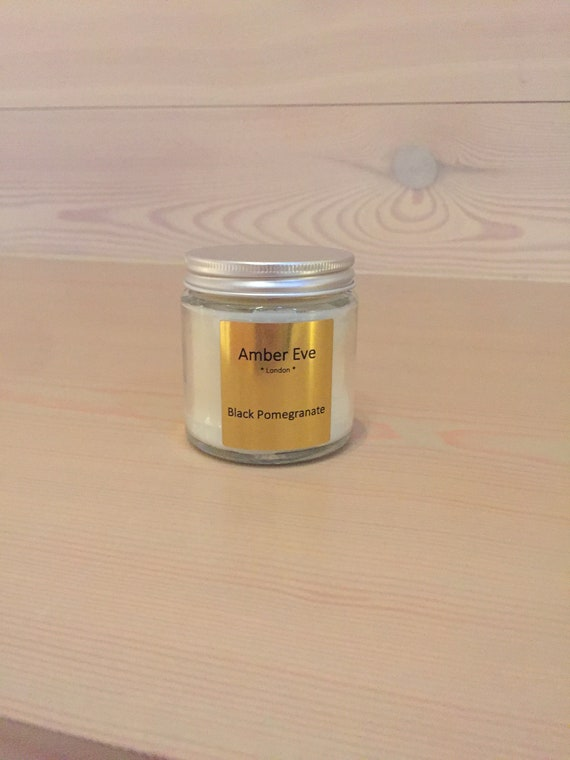 Black Pomegranate Candle with a silver lid