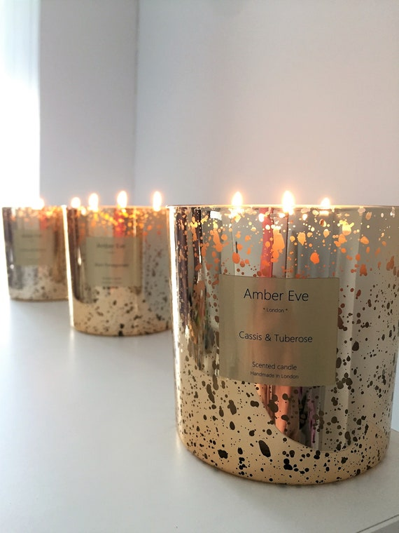Cassis & Tuberose 3 Wick Gold Candle