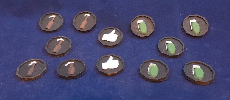 Gaslands Throwable and Vote Tokens