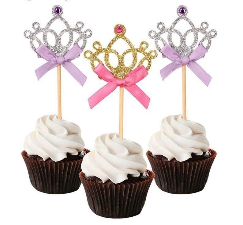 Magnificent Princess Crown Cupcake Toppers Princess Cupcake Toppers Gold Etsy Funny Birthday Cards Online Inifodamsfinfo